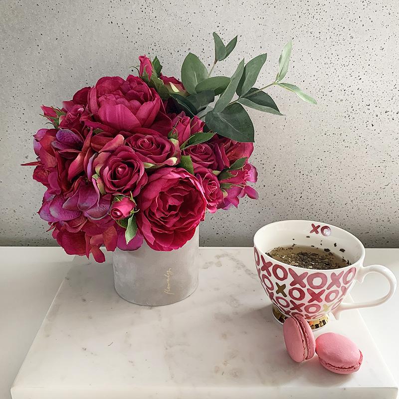 fuksjowe hortensje flowerbox