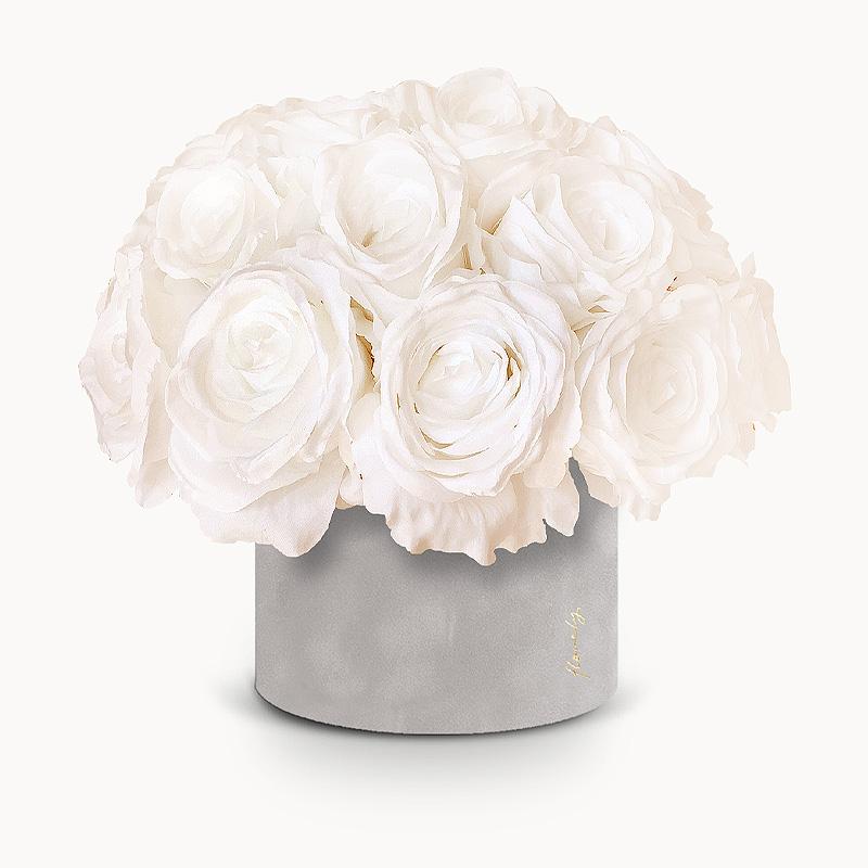 flower box śmietankowe róże