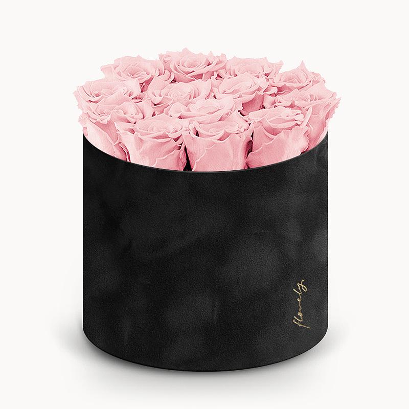 zamszowy flower box wieczne róże